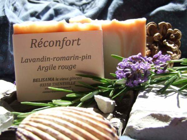 Réconfort : Lavandin - Romarin - Pin sylvestre - Argile rouge - Savon bio Belisama